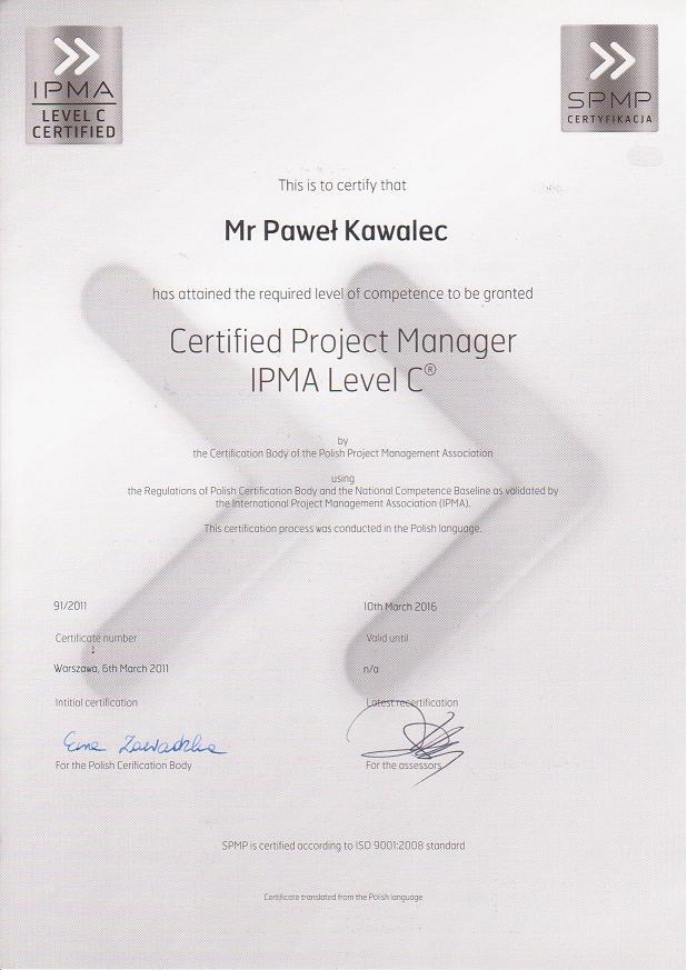 Certyfikat IPMA C