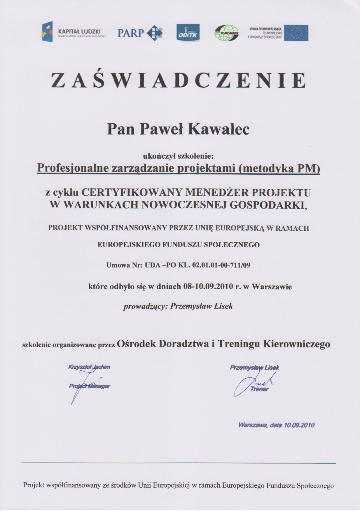 ODITK Profesionalne zarządzanie projektami